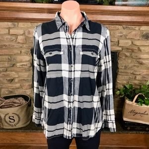 J Crew Blue and White Plaid Button Down Size Med